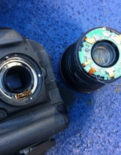 Damaged beyond repair: Richard Heathcote's camera, after its cameo appearance on Match of the Day