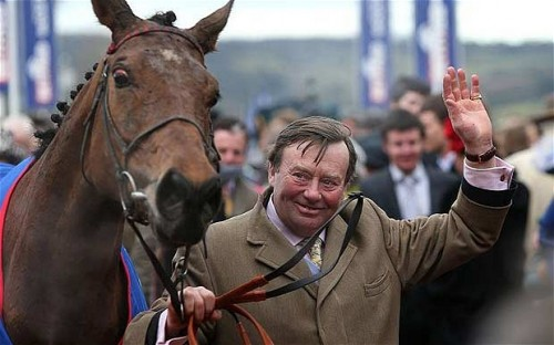 Trainer Nicky Henderson with his 50th winner at the Cheltenham Festival, Bobs Worth, winner of the 2013 Gold Cup