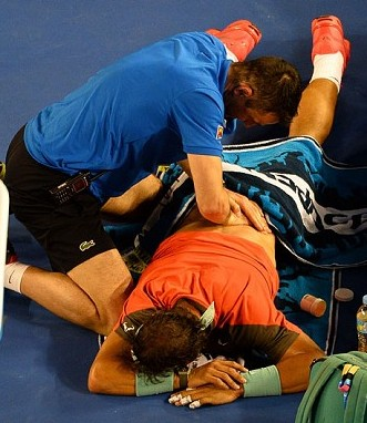 Backed up in pain: Rafael Nadal