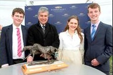 John Inverdale, second left, at the presentation of the 2013 Wills Writing Awards with the three winners