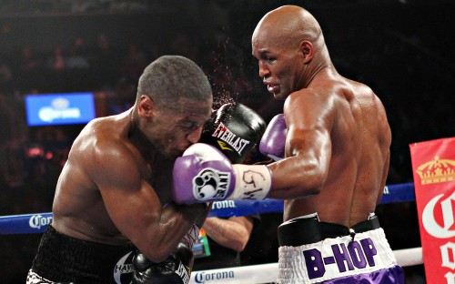 Bernard Hopkins, right, on his way to winning the world title, at the age of 48