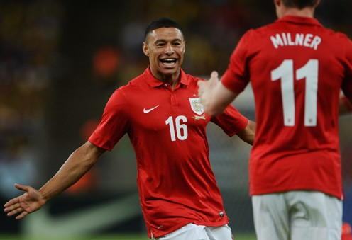 Alex Oxlade-Chamberlain, the SJA's International Newcomer of 2012, celebrates his goal in England's 2-2 draw with Brazil in Rio