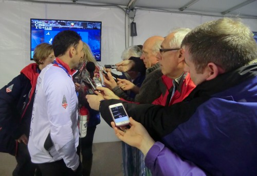 Curling in demand: Murdoch in the Mixed Zone at the Ice Cube after the play-off victory over Norway