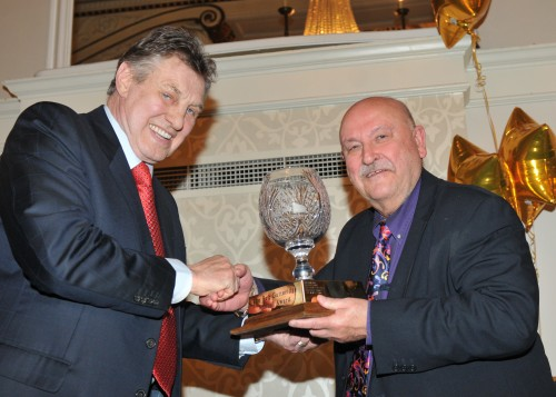 Billy Walker, left, presents Alan Hubbard with the Reg Gutteridge Award for services to boxing journalism