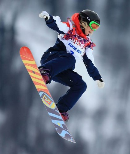 Jenny Jones on her way to the bronze medal in Sochi on Sunday