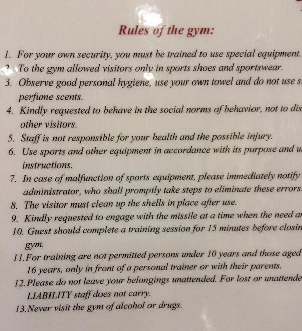 Jonathan Edwards's gym sign - rule 13