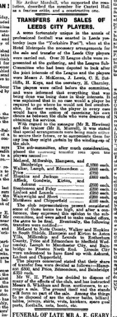 A cutting from the Hull Daily Mail of 1919 reporting the sale of all Leeds City's players after the club was closed down