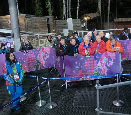 The plight of Mixed Zone journalists: reporters from the British nationals, having negotiated a tricky route to get there, then had to wait long and patiently to get a word from Yarnold