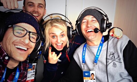 Tim Warwood, Aimee Fuller and Ed Leigh in the BBC commentary box before Jenny Jones's bronze medal run in Sochi