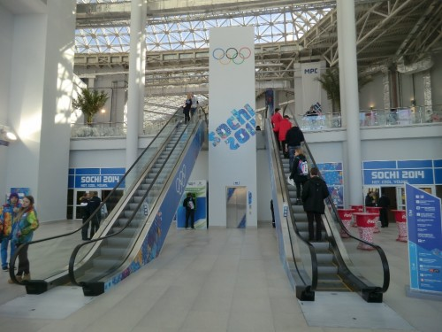 Welcome to Sochi! The enrtance to the Winter Games' vast press and media centres