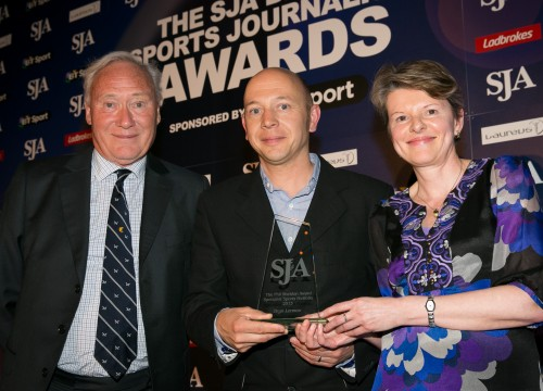 Getty photographer Bryn Lennon, centre, received his Specialist Portfolio award from Patrick Eagar and Gill Sheldon - a selection of pictures which would see him named Sports Photographer of the Year