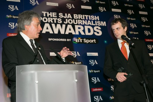 "Inverdale: ""So tell us Jon, have you not been tempted to take a job in London?"" Colman (right, winner of the SJA's Regional Sports Writer award for a fourth time): ""Not really. Beer's cheaper in Carlisle"""