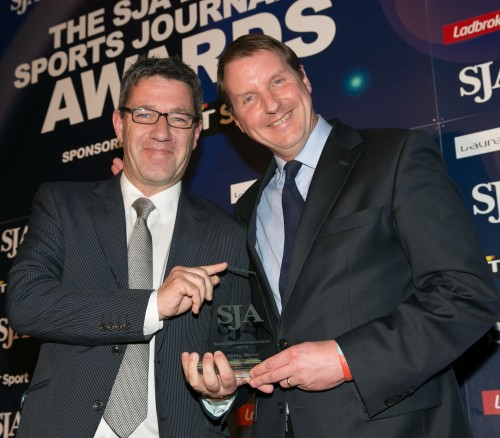 Henry Winter, right, was a popular winner of the Specialist Correspondent award for a fourth time, receiving it from the chairman of the Football Writers' Association, Andy Dunn