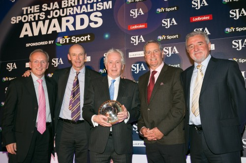 After nearly 50 years in the business, Jeff Powell centre) was awarded the SJA's Doug Gardner Award, his presentation party, from the left, SJA chairman David Walker, Sir Clive Woodward, Frank McLintock and Terry Venables