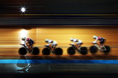 Elinor Barker leads team mates Katie Archbald, Joanna Rowsell and Laura Trott during qualifying for the women's team pursuit on day one of the 2013 European championships at Apeldoorn in the Netherlands