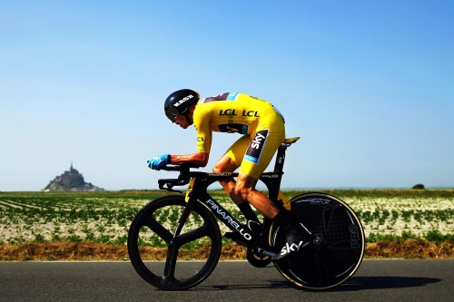 Another brilliant and beautiful racing image by Bryn Lennon, of Britain's Chris Froome, in the individual time trial, with Mont Saint-Michel in the distance