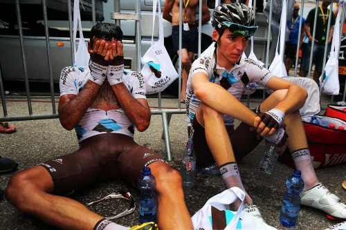 Cameraman Lennon captures brilliantly the complete exhaustion of two riders, Jean-Christophe Peraud (left) and Romain Bardet after the recover after the 120-mile eighth stage of last summer's Tour, from Castres to Ax 3 Domaines