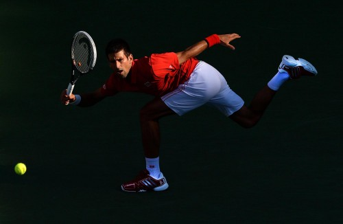 Novak Djokovic is captured in action in the US Open Championship at Flushing Meadows by Dave Shopland of the Daily Mail US OPEN TENNIS CHAMPIONSHIPS FLUSHING MEADOW NEW YORK DAY TUESDAY  OVAK DJOKOVIC IN ROUND 4 ACTION AGAINST MARCEL GRANOLLERS FROM SPAIN   DAVE SHOPLAND