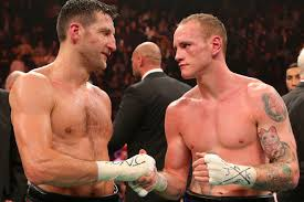 Carl Froch, left, and Groves ahead of their last fight: 60,000 bought tickets for the re-match within an hour
