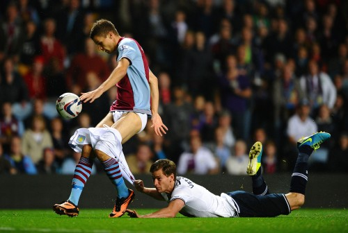 Getty Images' Laurence Griffiths award-winning picture of Jan Verttonghen hanging on to the shorts of Nicklas Helenius during the Villa v Spurs League Cup tie in September