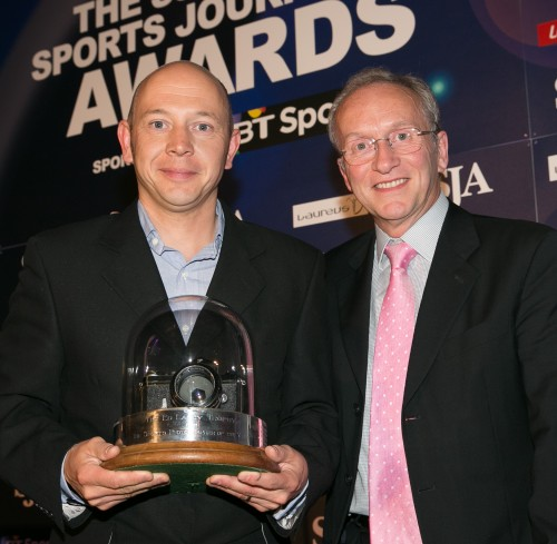 Bryn Lennon accepting the trophy as SJA British Sports Photographer of the Year from the SJA chairman, David Walker
