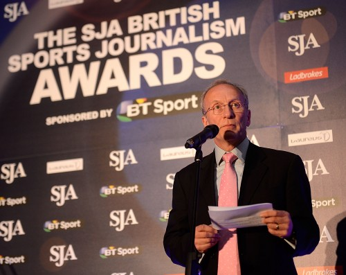David Walker, the SJA chairman, speaking at last month's Sports Journalism Awards. Photo by Bethany Clarke/Getty Images