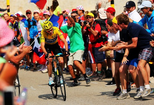 Chris Froome, the eventual Tour winner, on his way towards the summit of Mont Ventoux on Bastille Day last year