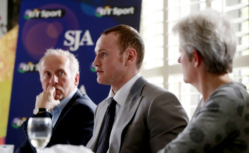 Janine Self, right, and David Walker at the SJA's recent lunch with boxer George Groves (centre)