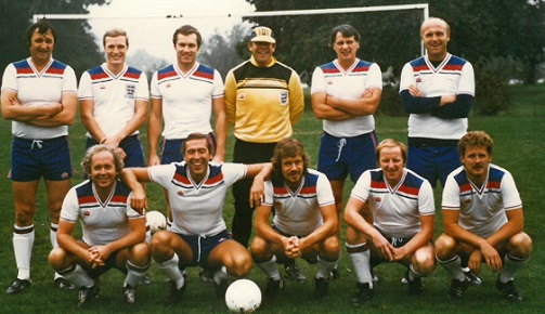 Here's an England football team from the mid-1980s which would never win a World Cup: With Bob Harris in the middle of the back row in the guise of a goalkeeper, his team mates (left to right, back row first): Mike Keen, Adrian Williams, Michael Hart, Bob Harris, Bobby Robson, Don Howe. Front row: Jeff Powell, Martin Tyler, Stuart Jones, Alan Parry, Ken Lawrence