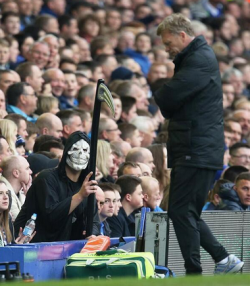 Grim reminder: according to one bookmaker at Goodison on Sunday, all bets were off about David Moyes's future as Manchester United manager