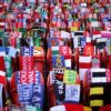 Scarves donated by fans of clubs from around the world were placed on empty seats during the memorial service marking the 25th anniversary of the Hillsborough Disaster, at Anfield today