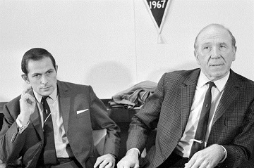 Sir Matt Busby with Wilf McGuinness in 1969