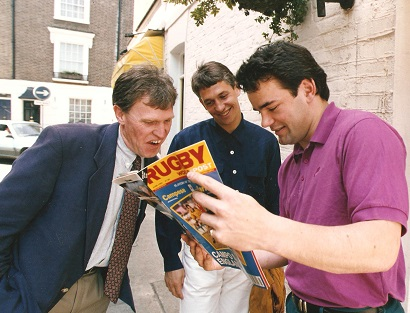Malcolm Folley swapping notes with two England captains, Gary Lineker and Will Carling