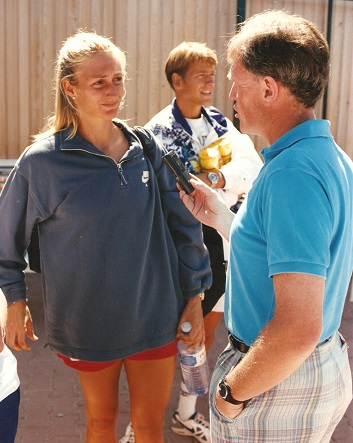 Malcolm Folley in typical style, interviewing an international sports star, Mary Pierce