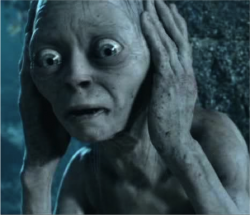 Gollum. Or Andy Serkis. Listening to the latest World Cup song?