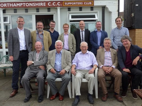 "Matthew Engel, centre in front row, and his ""first XI"" of Northampton cricket writers past and present"