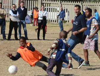 Ryan Giggs, in action with youngsters at the Sport for All project in Katlehong, Johannesburg
