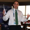 Glasgow 2014 chief David Grevemberg speaking at the SJA's International Media Reception in Glasgow last night