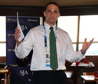 Glasgow 2014 chief David Grevemberg speaking at the SJA's International Media Reception in Glasgow last night