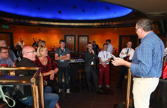Brian Oliver amuses and enlightens attendees at the BTSport-sponsored SJA international media reception in Glasgow about the history of the Games. Photography by Julian Finney/Getty Images