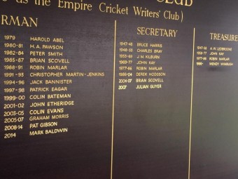 Cricket Writers' Club honours board
