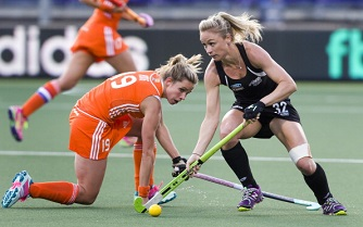 New Zealand taking on the hosts, the Netherlands, in last month's Hockey World Cup