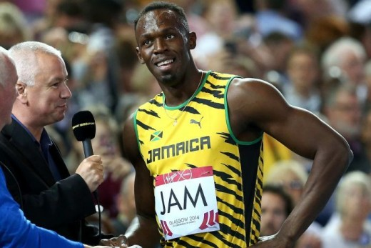 Usain Bolt, looking suitably pleased with the deference of the questions offered by the BBC