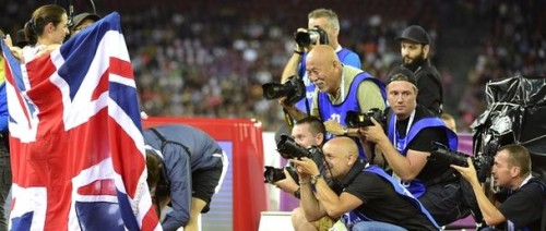 Sports photographers focus on Jo Pavey after her European 10,000m victory in Zurich. Today she was named woman athlete of the year by the British Athletics Writers' Association