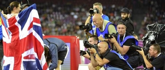 In the picture: sports photographers focus on Jo Pavey after her European 10,000m victory in Zurich last night