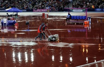 Not the four horsemen, but the mopping operation to keep the clear the runways of surface water for the field events in Hampden Park last night
