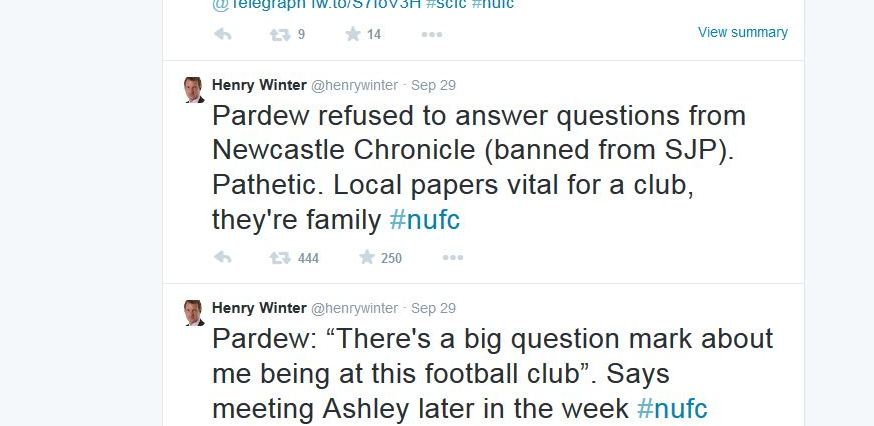 Henry Winter Newcastle Tweet