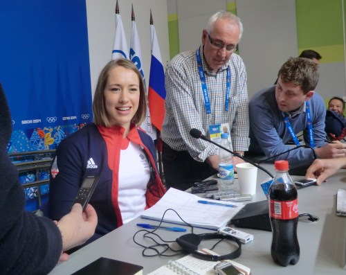 Lizzy Yarnold explains to the British press in Sochi that she doesn't actually use a tea tray