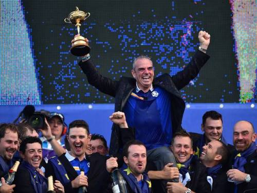 Emphatic winners, Europe's Ryder Cup team enjoy their moment of glory