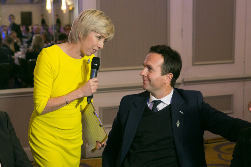 Interviewer Sybil Ruscoe talks to former England captain Michael Vaughan at the SJA British Sports Awards